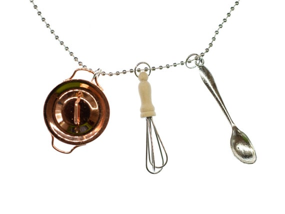 3er Set Koch Kette Halskette Miniblings 80cm Küche Schneebesen Topf Löffel