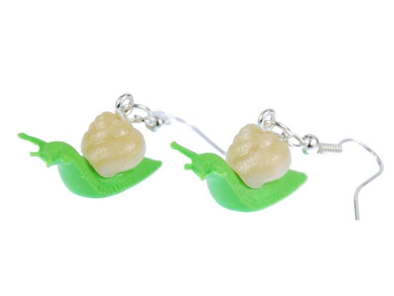 Snail Earrings Miniblings animal garden slug Green