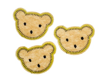 3pcs Bear Head Patch Hotfix Iron On Application Miniblings Forest Brown Teddy Animal