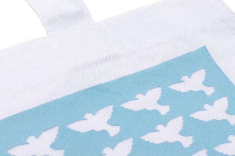 Cotton Carrier Bag Jute Bag Shopper Miniblings White Peace Dove Blue Velvety Flock