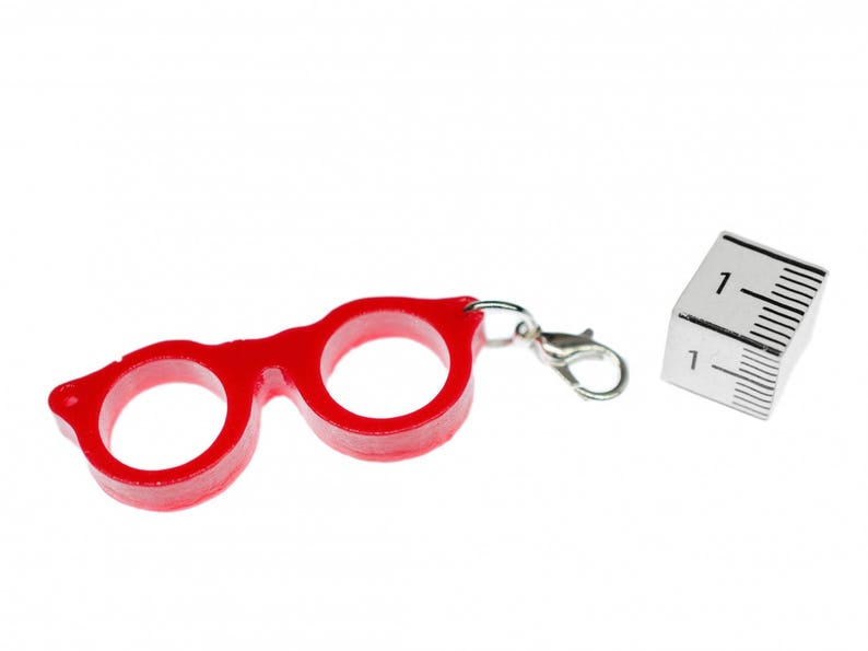 Woody Glasses Charm Miniblings Pendant Charm Bracelet Nerd Retro Red