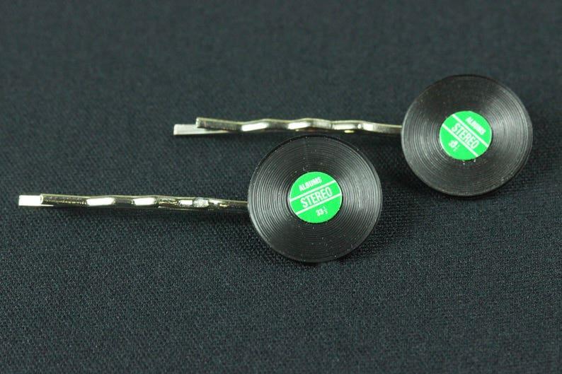 Records Set Of 2 Hair Clip Hair Pin Clips Pins Hairpins Miniblings Record Lp Dj Music Vinyl Green