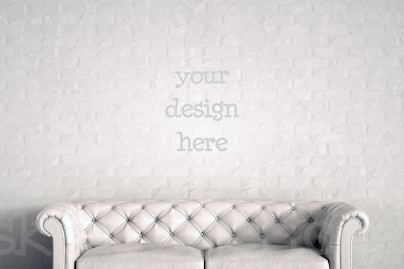 Astounding White Leather Sofa Mockup Blank Wall Photography Brick Wall Backdrop Poster Mockup Print Background Digital Background Instant Download Machost Co Dining Chair Design Ideas Machostcouk