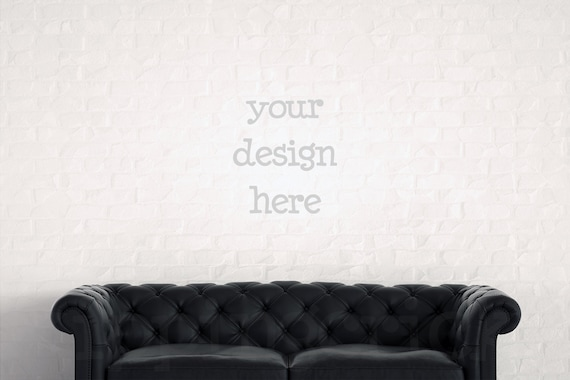 Incredible Black Leather Sofa Mockup Blank Wall Photography Brick Wall Backdrop Poster Mockup Print Background Digital Background Instant Download Machost Co Dining Chair Design Ideas Machostcouk