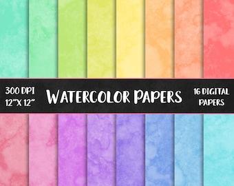 16 Watercolor digital paper, rainbow colored watercolor, watercolour digital papers, watercolor paint scrapbooking paper DIGITAL DOWNLOAD