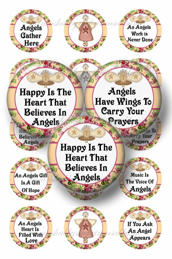 angel sayings 1 inch circles digital collage sheet bottle etsy