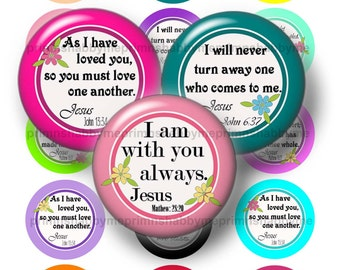 Bible Verses, 2 Inch Circles, Digital Collage Sheet, Christian, Jesus, Instant Digital Download, For Cupcake Toppers, Magnets, (No.2)