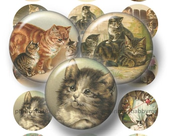 """Vintage Cats, Bottle Cap Images, 1"""", 1.25"""", 1.5"""", 2"""", Circles, Digital Collage Sheets, Kittens,, Cupcake Toppers, Magnets, Pendants, No.1"""