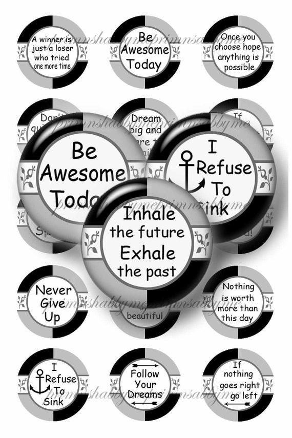 Inspirational Sayings Collage Sheet Bottle Cap Images