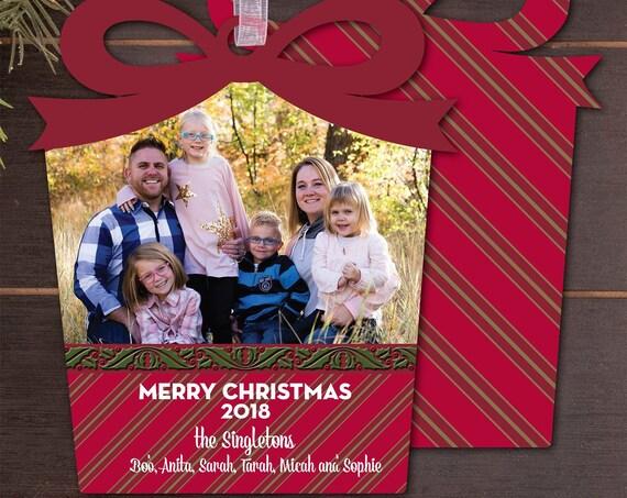 photo Christmas card, custom shape Christmas card, cut out holiday card, Happy New Year, photo holiday card, die cut Christmas card, PO001