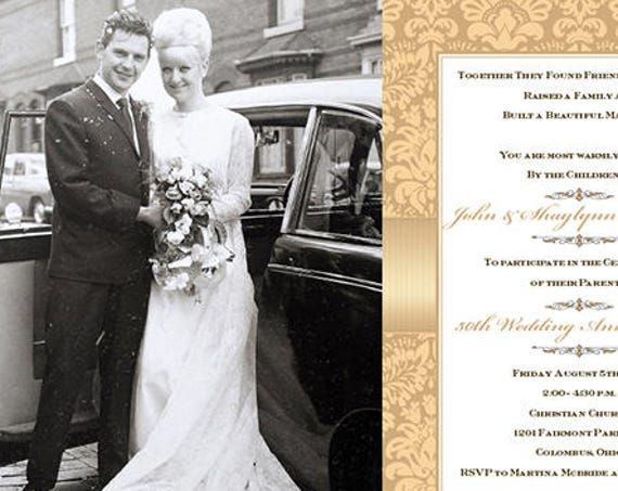50th anniversary party, champagne wedding anniversary invitation, golden wedding anniversary invitation, foldover invitation, IN640