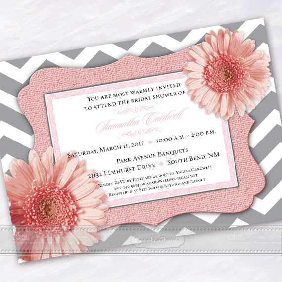 wedding invitations, chevron wedding invitations, wedding package, pink wedding invitations, bridal shower invitations, IN544