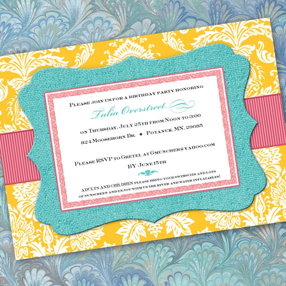 birthday party invitations, turquoise birthday party invitations, yellow party invitations, bridal shower invitations, IN205