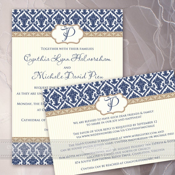 wedding invitations, wedding invitation and rsvp, navy wedding invitations, thank you cards, wedding package, IN399
