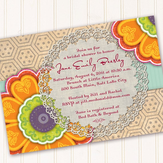 bridal shower invitations, tangerine bridal shower invitations, wedding shower invitations, birthday party invitations, retirement party