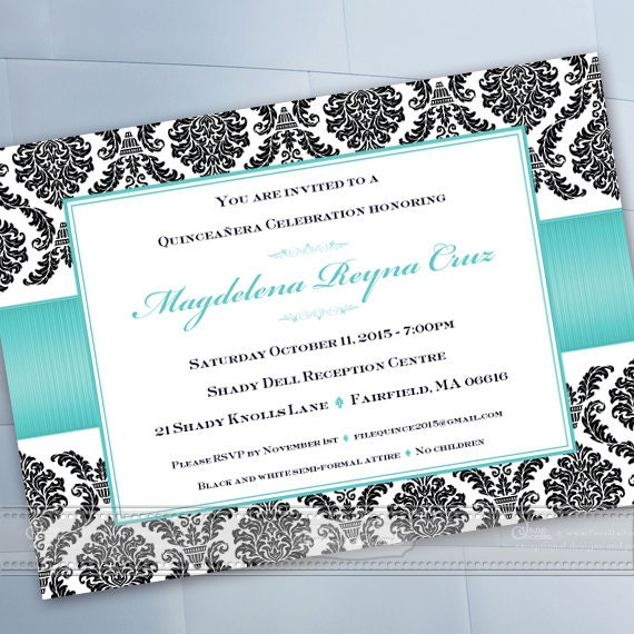 quineanera invitations, 15th birthday party invitations, wedding shower invitations, turquoise bridal shower invitations, IN607
