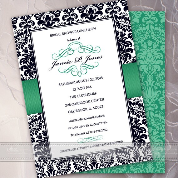 bridal shower invitations, green bridal shower invitations, wedding shower invitations printed, bridal shower invites, IN402