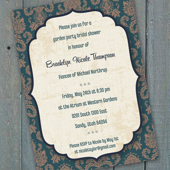 bridal shower invitations, teal bridal shower invitations, teal wedding shower invitations, teal retirement party, wedding package, IN168