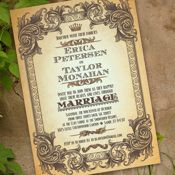 wedding invitations, elegant wedding invitations, wedding invitation with scrollwork, subway wedding, wedding package,  IN225