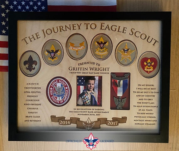 Journey to Eagle Plaque, 11x14 wood plaque, Eagle Scout patches, Customized, Eagle Scout, Court of Honor, BSA1406