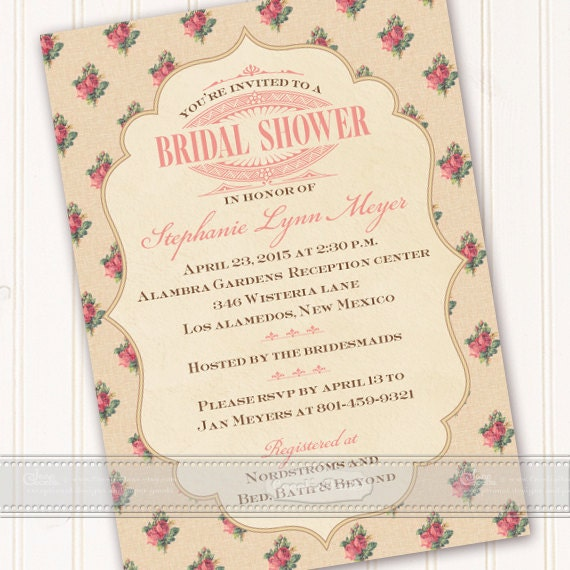 bridal shower invitations, Victorian bridal shower invitations, Victorian bridal shower, rose party, Victorian retirement party, IN411