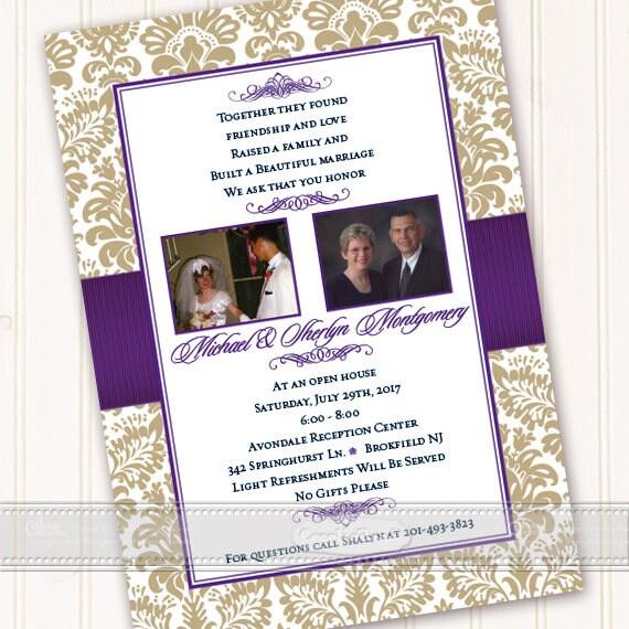 50th wedding anniversary invitation, gold anniversary invitation, plum anniversary invitation, golden anniversary, anniversary party, IN618