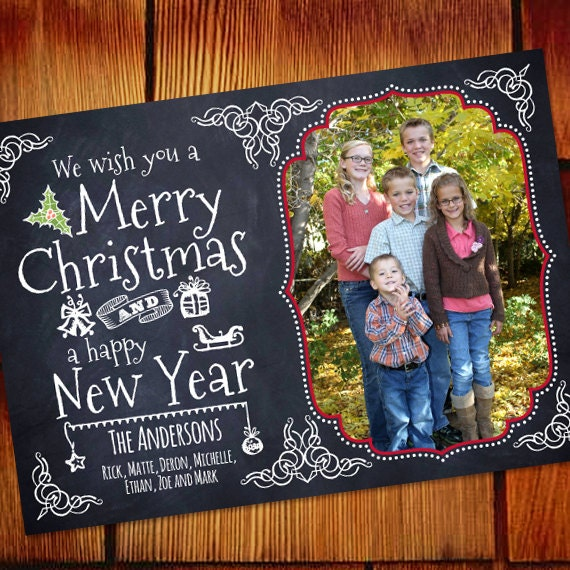 Christmas cards, chalkboard Christmas card, Happy New Year blackboard card, blackboard Christmas card, chalkboard holiday card, CC247