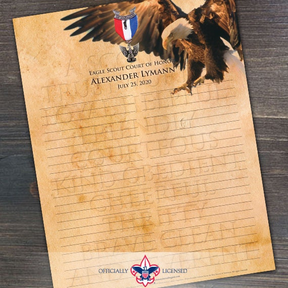Sign-In Sheet, Eagle Scout Court of Honor, Customized, Court of Honor, BSA, BSA0205