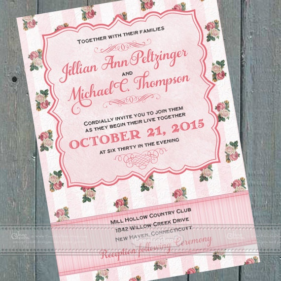 wedding invitations, Victorian wedding invitations, Victorian bridal shower invitations, baby shower invitations, wedding package, IN411