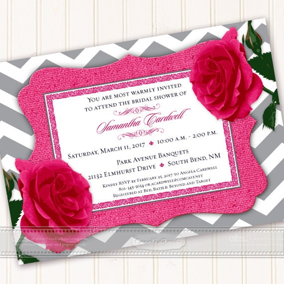 wedding invitation, fuchsia wedding invitation, fuchsia bridal shower invitation, hot pink chevron wedding invitation,wedding package, IN540