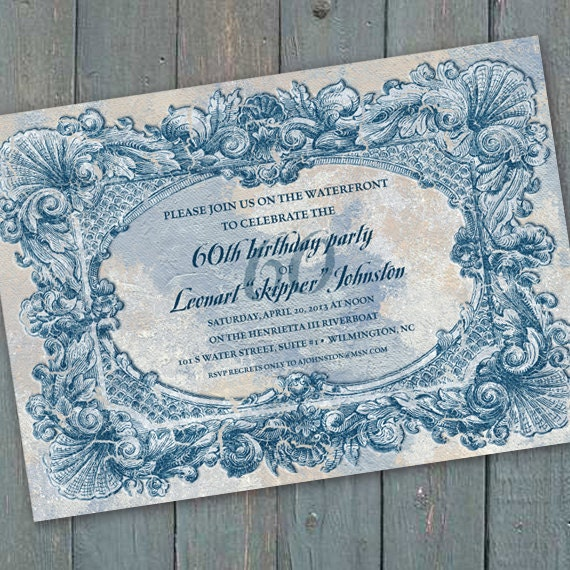 birthday party invitation, coastal party invitation, weathered Hampton invitation, 60th birthday party invitation, beach front wedding