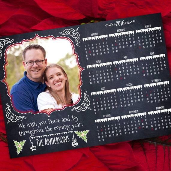 chalkboard Christmas card calendar, 2018 calendar, blackboard calendar, chalk it up for Christmas, happy holidays photo card, IN419