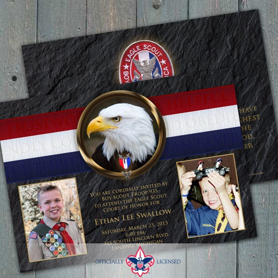 Eagle Scout Court of Honor invitation, double sided invitation, BSA invitation, BSA0301