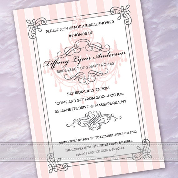 bridal shower invitations, rose quartz bridal shower invitations, pink wedding shower invitations, baby shower invitations, IN487