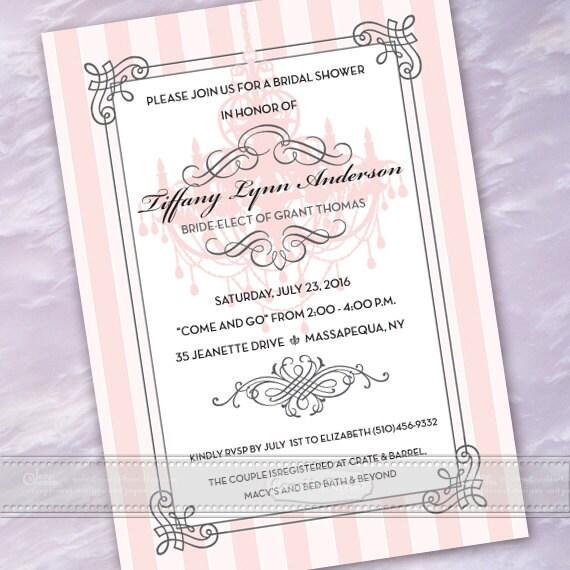 bridal shower invitations, rose quartz bridal shower invitations, pink wedding shower invitations, baby shower invitations, IN487