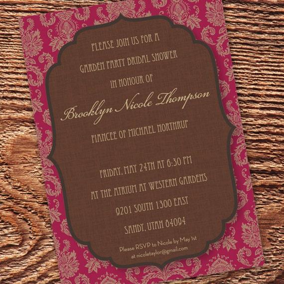 wedding invitations, cranberry bridal shower invitations, chocolate bridal shower invitations, red and chocolate wedding invitation
