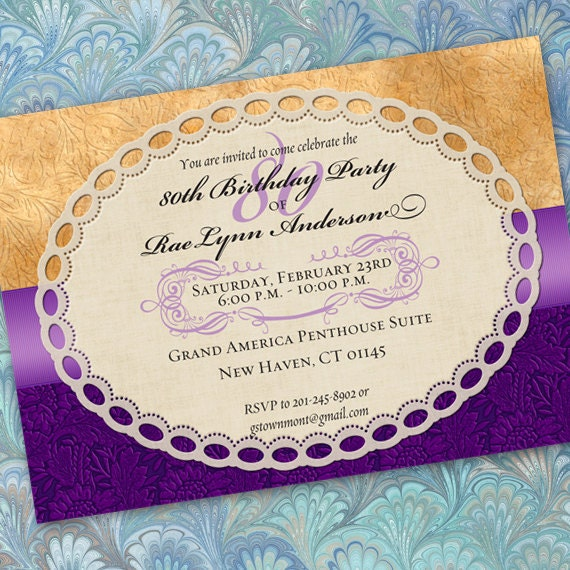 80th birthday party invitations, 50th birthday party invitations, retirement party invitations, hyacinth and canary wedding, hyacinth bride