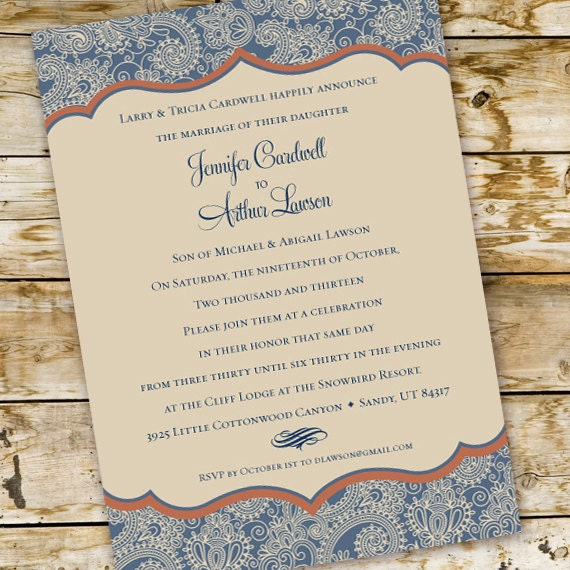 wedding invitations, blue paisley wedding invitation, country wedding invitations, cowgirl bridal shower invitations, wedding package, IN223