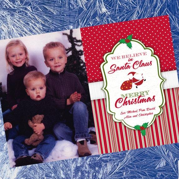 Christmas cards, candy cane Christmas card, polka dot Christmas card, red stripe Christmas, red and white Christmas photo card, CC030
