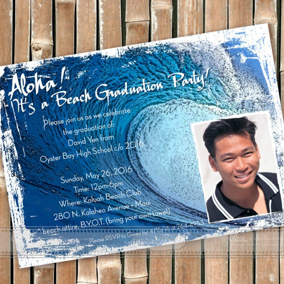 graduation invitations, graduation announcements, big wave invitations, surf grad party invitations, beach party, big island wedding, IN296