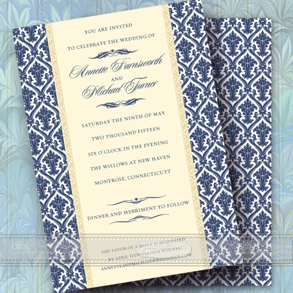 wedding invitations, navy wedding invitations, formal wedding invitations, navy graduation invitations, wedding package, IN358