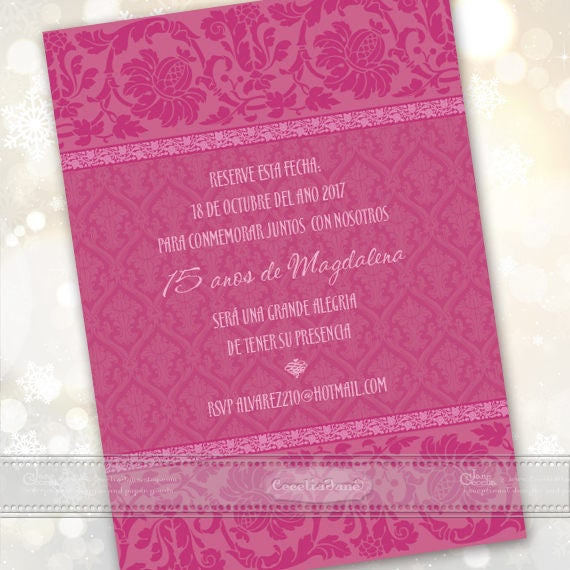 quinceanera invitations, fuchsia quinceanera invitations, birthday party invitations, hot pink birthday party invitations, IN636