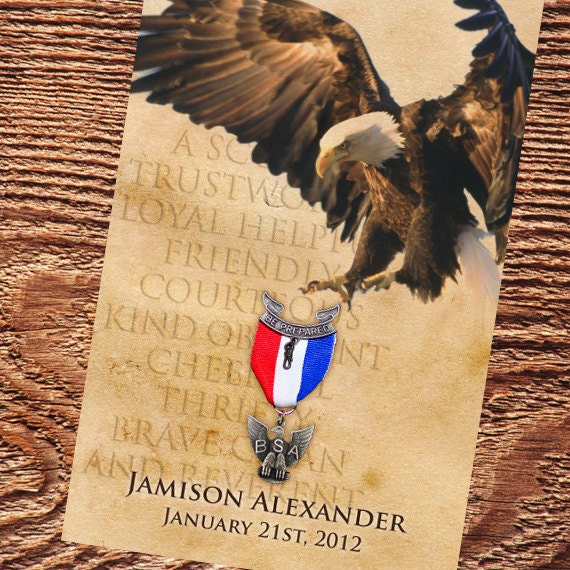 eagle scout court of honor program cover, Boy Scouts of America program, parchment Eagle Scout program cover, Court of Honor, BSA, IN267