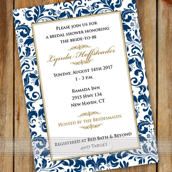 bridal shower invitations, navy bridal shower invitations, wedding invitations, rehearsal dinner, bridal shower package, IN602