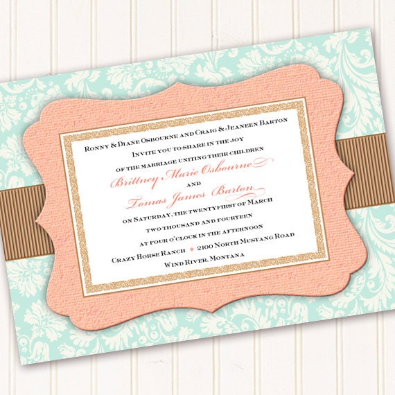 wedding invitations, aqua wedding invitations, peach wedding invitations, peach baby shower invitation, wedding package, IN257
