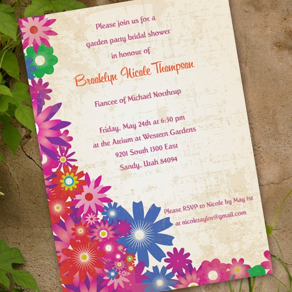 bridal shower invitations, floral bridal shower invitations, garden party invitations, spring fling, floral bridal shower, girl party