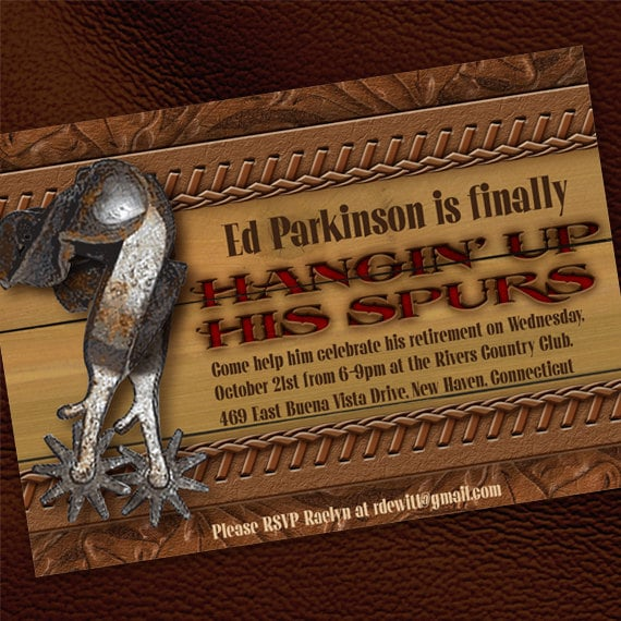 retirement party invitations, retirement party ideas, wild west retirement party, cowboy retirement, cowboy birthday party invitations