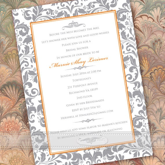 wedding invitations, silver wedding invitations, wedding thank you cards, tangerine wedding invitations, wedding package, IN434
