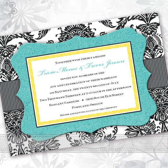 wedding invitations, turquoise wedding invitations, formal wedding invitations, turquoise bridal shower invitations, wedding package, IN440