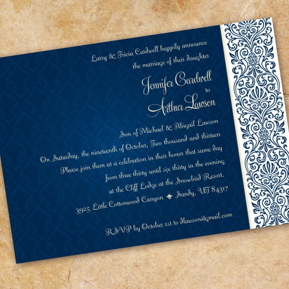 wedding invitations, navy wedding invitation, navy damask invitation, navy rehearsal dinner, navy retirement party, wedding package, IN234